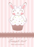 Bunny girl on cupcake announcement card Stock Images