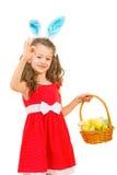 Bunny girl with Easter basket show okay Royalty Free Stock Photo