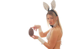 Bunny girl with easter egg Stock Photos
