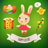 Bunny Girl and Easter Symbols Royalty Free Stock Photography