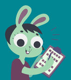 Bunny Girl Filling Form. Vector illustration of a cartoon bunny girl filling a form Royalty Free Stock Photography