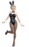 Bunny Girl Gambe lunghe della donna sexy in calzamaglia a rete nere Scarpe nere del costume da bagno Immagini Stock