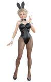 Bunny Girl Gambe lunghe della donna sexy in calzamaglia a rete nere Scarpe nere del costume da bagno Fotografia Stock Libera da Diritti