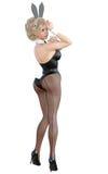 Bunny Girl Gambe lunghe della donna sexy in calzamaglia a rete nere Scarpe nere del costume da bagno Fotografia Stock