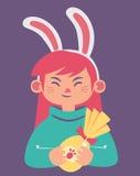 Bunny Girl Holding lindo un corazón ilustración del vector