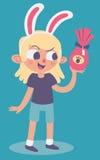 Bunny Girl Holding sveglio un uovo di cioccolato di Pasqua Immagine Stock Libera da Diritti