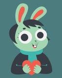 Bunny Girl Holding un cuore Fotografie Stock