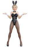 Bunny Girl Lange Beine der sexy Frau in den schwarzen Fischnetzstrumpfhosen Schwarze Badeanzugschuhe Stockfotografie