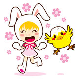Bunny Girl And Little Chick Royalty Free Stock Image