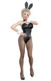 Bunny Girl Longues jambes de femme sexy dans des collants noirs de filet Chaussures noires de maillot de bain Photo libre de droits