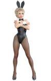 Bunny Girl Longues jambes de femme sexy dans des collants noirs de filet Chaussures noires de maillot de bain Images stock