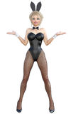 Bunny Girl Longues jambes de femme sexy dans des collants noirs de filet Chaussures noires de maillot de bain Photographie stock