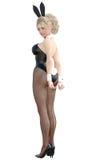 Bunny Girl Longues jambes de femme sexy dans des collants noirs de filet Chaussures noires de maillot de bain Image libre de droits