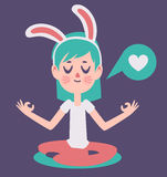 Bunny Girl Meditading Thinking circa amore Immagine Stock