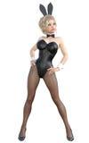 Bunny Girl Pés longos da mulher 'sexy' em calças justas pretas da rede de pesca Sapatas pretas do roupa de banho Fotos de Stock