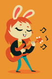 Bunny Girl Playing Guitar sveglio Immagine Stock