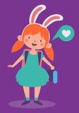 Bunny Girl Ready sveglio da andare a scuola Fotografie Stock