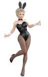 Bunny Girl Sexy vrouwen lange benen in zwarte visnetlegging Zwarte zwempakschoenen Royalty-vrije Stock Afbeelding