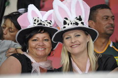 The Bunny girls. Enjoy themselves at the Sevens world cup series at the Nelson Mandela Bay staduim in Port Elizabeth on 9 December 2012.The Final drawn was Royalty Free Stock Images