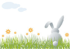 Bunny in grass,. Easter bunny sitting in grass,  illustration Royalty Free Stock Images