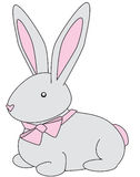 Bunny gray. Cuddly gray bunny with a pink bow stock illustration