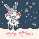Bunny. Greeting Card Happy holidays! with a cartoon Bunny. Hand-drawn illustration. Vector stock illustration