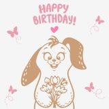 Bunny Happy Birthday Fotografie Stock Libere da Diritti