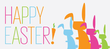 Bunny Happy Easter Banner. Colorful silhouette cartoon rabbits with the words Happy Easter in pastel colored banner Royalty Free Stock Photography