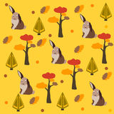 Bunny/Hare Pattern with pine, spruce trees and leafs. Autumn/Fall Collection. Vector Illustration. Bunny/Hare Pattern with pine, spruce trees and leafs Stock Photo