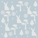Bunny/Hare Pattern with pine, spruce trees and leafs. Winter/Merry Christmas Collection. Vector Illustration. Bunny/Hare Pattern with pine, spruce trees and Stock Images