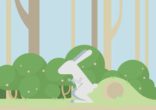 Bunny hare rabbit flat design cartoon vector wild animal Royalty Free Stock Photos
