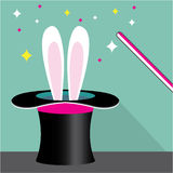 Bunny in a hat magic vector Stock Photos