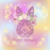 Bunny Head with floral wreath isolated on background. Rabbit head as Baby shower & Easter logo, pet shop, badge. Template for Baby Birthday, Easter Day, party Stock Photo