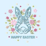 Bunny Head isolated on background with flowers. Rabbit head as Easter logo, pet shop, badge, icon. Template for Happy Easter Day, party invitation, greeting Royalty Free Stock Photo