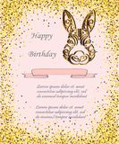 Bunny Head isolated on background with golden confetti. Rabbit head as Baby shower & Easter logo, pet shop, badge. Template for Baby Birthday, Easter Day Stock Photos