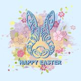 Bunny head isolated on  pastel color background with flowers. Rabbit head as Easter logo, pet shop, badge, icon. Template for Happy Easter Day, party Stock Photography