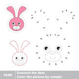 Bunny Head . Vector numbers game. Bunny Head in vector to be traced by numbers. Vector visual game Royalty Free Stock Image