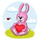 Bunny with heart Stock Photography