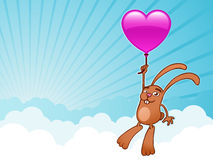 Bunny with heart balloon. In the sky vector illustration