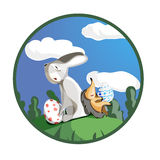 Bunny and hedgehog with easter eggs flat vector illustration. Bunny and hedgehog with easter eggs Royalty Free Stock Images