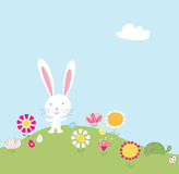 Bunny Hill Illustration. Cute little bunny & turtle on a pretty Easter morning Royalty Free Stock Photography