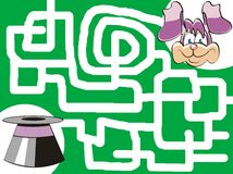 The bunny and his top-hat. Maze game for kids: Help the bunny find his top-hat Vector Illustration