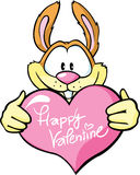 Bunny hold valentine heart Stock Photography