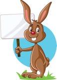 Bunny Holding Advertising Sign mignon illustration libre de droits