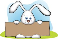 Bunny Holding Banner. Cute Bunny Holding Blank Banner Royalty Free Stock Photography