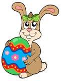 Bunny holding big Easter egg vector illustration