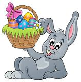 Bunny holding Easter basket theme 5 Royalty Free Stock Photo