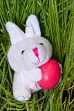 Bunny holding an Easter egg Stock Photo