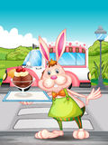 A bunny holding a tray with ice cream Royalty Free Stock Image