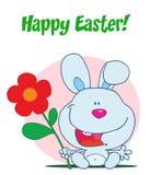Bunny Holding Up A Red Daisy Flower. Cartoon Bunny Holding Up A Red Daisy Flower stock illustration